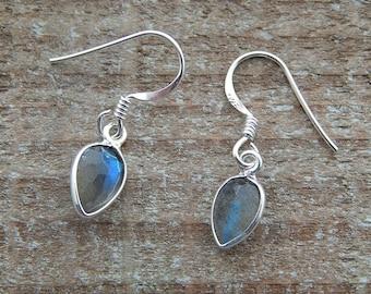Labradorite Earrings, Teardrop Earrings, Drop Earrings, Labradorite Gemstone Dangle Earrings, Sterling Silver Earrings