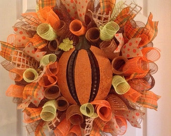 Fall Wreath/ Pumpkin Wreath/ Fall Mesh Wreath/ Pumpkin Deco Mesh Wreath/ Fall Deco Mesh Wreath