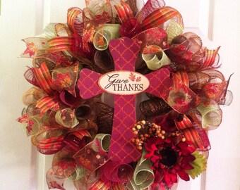 Thanksgiving Wreath/ Fall Wreath/ Fall Mesh Wreath/ Give Thanks Wreath