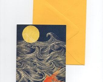 Moon Phases Goldfish Card