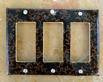 Black and gold vines light switch plate