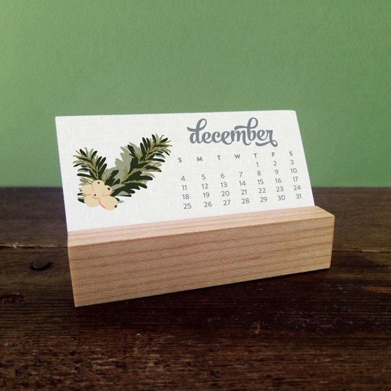 Calendar Wood Stand : Mini desk calendar with wood stand by