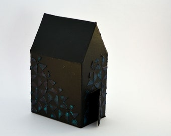 Decorative house, mixed media, black and blue green