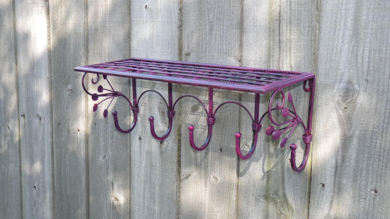 Metal coffee mug shelf with hooks wall decor with hooks zoom amipublicfo Choice Image