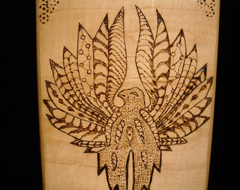 Phoenix Bird burnt wood art