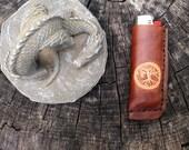 tree of life handmade leather bic lighter case