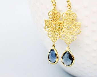 Navy Teardrop Glass Stone with Gold Plated Chandelier Pendant Earrings, Bridal Earrings, Bridesmaid Earrings, Gold Chandelier Earrings .