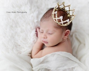 Gold Newborn Rhinestone Crown, Baby Tiara, Baby Crown, Infant Crown, Photo Prop