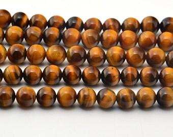 """15.5""""  8MM  Natural  African  Tigereye Beads Round Gemstone"""