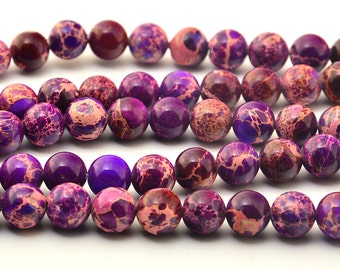 "16""  Purple  Imperial Jasper   Round   Beads--8mm,  6mm"
