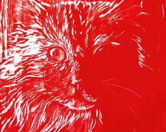 Cat Woodblock Print, Hand Inked and Hand Pulled, your choice of color