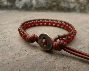 Red Carnelian Leather Wrap Bracelet. Red Bracelet. Boho Bracelet. Bohemian Bracelet. Gemstone Bracelet.