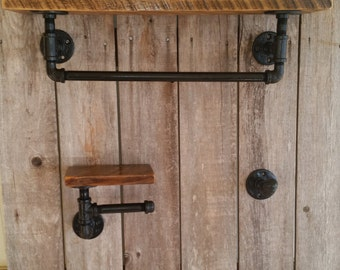 Steel Pipe and Reclaimed Wood Bath Set