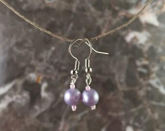 Faux Purple Pearl Dangle Earrings