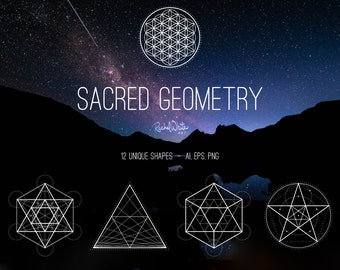 Sacred Geometry Vector Illustrations - AI EPS and PNG - 24 Images in Black, White - Instant Download