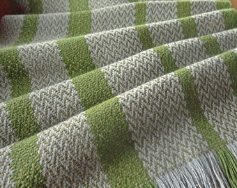 Handwoven Scarf grey and light green