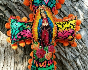 EXCLUSIVE--Whimsy Showstopping Mexican Folk Art Fiesta Handcrafted Artisan Lady of Guadalupe Virgen de Guadalupe Sequined Comfort Cross