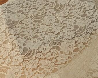 Chantilly Lace Fabric Trim in Ivory for Bridal Veil, Wedding Gown, DIY Wedding 3 yards  DT