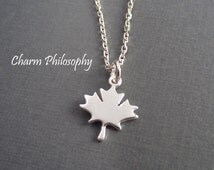 Maple Leaf Necklace - Small Canada Charm Jewelry - 925 Sterling Silver Jewelry - Everyday Necklace
