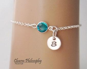 Initial Birthstone Bracelet or Anklet - Personalized Birthstone Bracelet - 925 Sterling Silver - Rolo Chain - Dainty Minimalist Bracelet