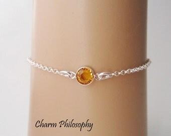 November Birthstone Bracelet - Swarovski Citrine Birthstone Anklet - 925 Sterling Silver - Dainty Minimalist Bracelet