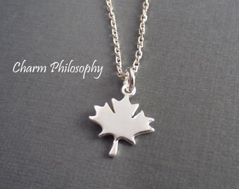 Gold brass canada necklace maple leaf necklace leaf fall maple leaf necklace small canada charm jewelry 925 sterling silver jewelry everyday necklace aloadofball Gallery