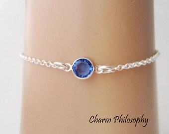 September Birthstone Bracelet - Swarovski Sapphire Birthstone Anklet - 925 Sterling Silver - Dainty Minimalist Bracelet
