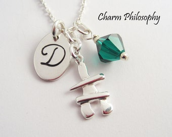 Inukshuk Necklace - Canadian Jewelry - 925 Sterling Silver Jewelry - Canada Necklace - Personalized Initial and Swarovski Birthstone