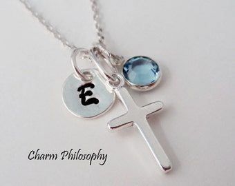 Sterling Silver Cross Necklace with Personalized Initial Charm and Birthstone Bead