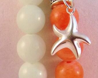 Starfish Charm Bracelet Set of 2 Stretch. Mountain Jade Salmon 10MM and Pale Green 10MM.  Pale Green Light GreenBracelet Orange Bracelet