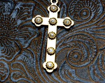 6 Pieces Gold Cross with AB Rhinstone accents, Gold cross charms 45x35mm Bling Cross Gold 14-1-G