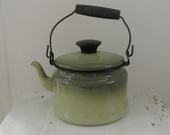 Green Black Enamel VintageTea Kettle