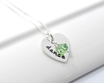 Hand Stamped Dance Necklace with Birthstone