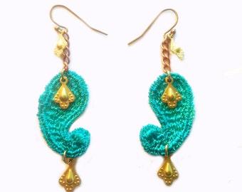 SALE- PAISLEY- Lace Earrings - Caymen Blue
