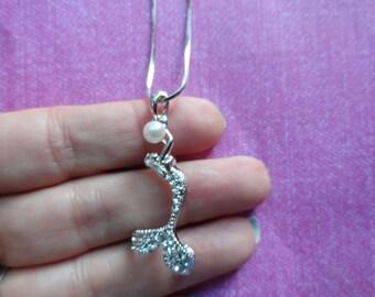 Mermaid crystal pearl pendant necklace