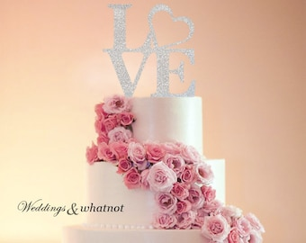 Love Glittered Cake Topper choose your color and size