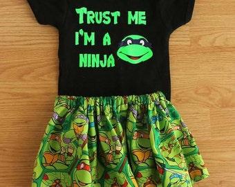 Ninja turtles girls outfit bodysuit and skirt set