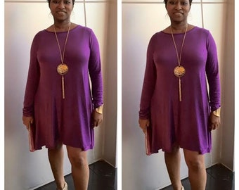 Solid Color Dress All Purpose Swing Dress Plus Sizes Available Great Stretch Perfect Occasion Long Sleeves Birthday Girl Dress All Colors