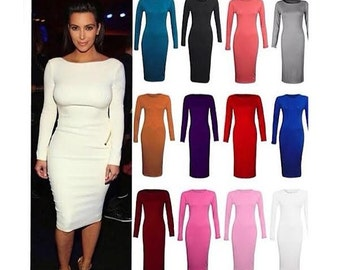 Solid Color Dress All Purpose Midi Dress Plus Sizes Available Great Stretch Perfect Occasion Long Sleeves Birthday Girl Dress All Colors