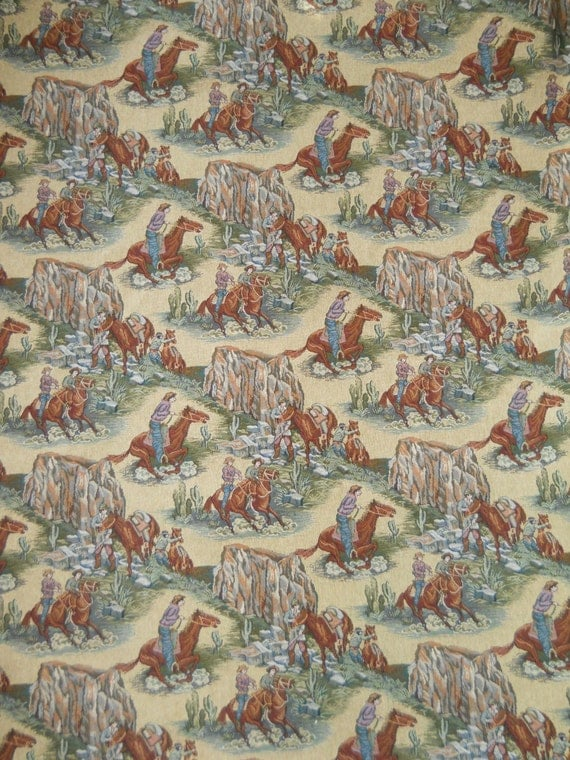 western home decor fabric vintage western cowboy horses trailride decorator tapestry 11821