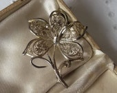 Vintage 935 Sterling Silver Filigree Floral Flower Brooch