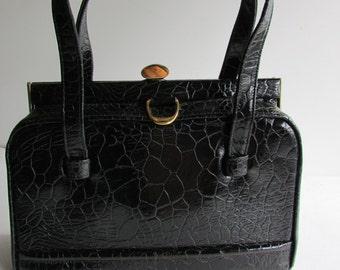 Zenith Handbag Crocodile Black Crocodile Purse Vintage Handbag Black Bag Black Leather Bag Black Pocketbook Black Purse