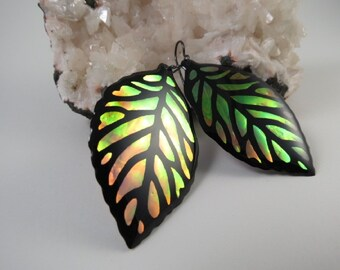 Autumn Iridescent & Transparant Leaf Earrings