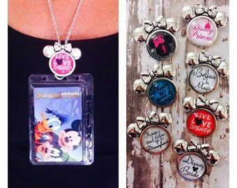 Disney Annual Passholder Minnie Mouse Lanyard/Work ID Badge You Choose One Disney Design With Chain/Clear Protective Card Holder