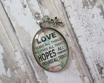 Love Bears All Things 1 Corinthians 13:7 Glass Pendant Necklace With Silver Cross Charm