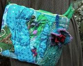 Indian textile belt bag, patchwork, teal, with flower/ patch money pouch / ooak small purse