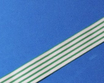 Green and white striped grosgrain ribbon - 5 yards