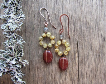 Colorful gemstone earrings Dangle earrings Long dangle earrings Colorful earrings Yellow and red earrings Colorful jewelry Jasper and quartz