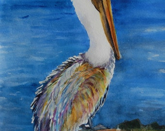 Mr. Pelican Original Watercolor Painting by Ann Shaw,  handmade