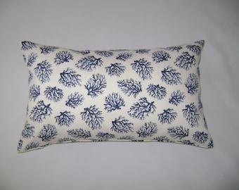 Navy Coral Lumbar Pillow Cover, 12''x20'' Beach Decor Pillow Cover, Lumbar Navy Coral/White Decorative Pillow